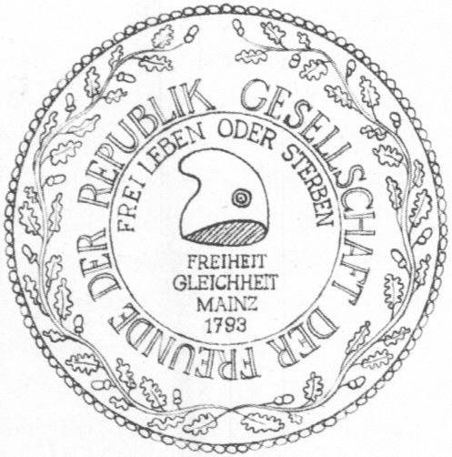 Zeichnung von Valy Schmidt-Heinicke | Bildtitel: Siegel des Mainzer Jakobinerklubs 1793 | Lizenz: Public domain | Quelle: Wikimedia Commons